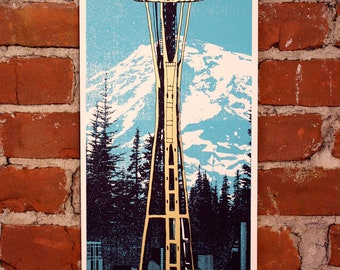 Space Coffee- Seattle- Screenprinted Art Print