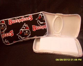 Tampa Bay Buccaneers Fabric Covered Baby Wipe Case