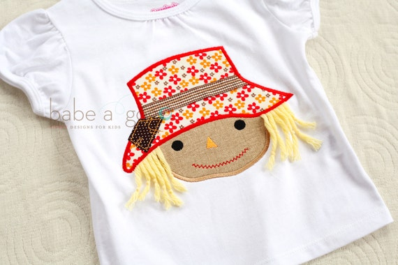 24 mos. only SAMPLE SALE Scarecrow Girl Tee Shirt by babe-a-gogo for Toddlers, Boys or Girls
