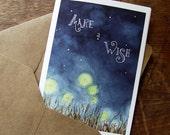 Make a Wish, Night Sky, Fireflies and Bunnies, Birthday Card