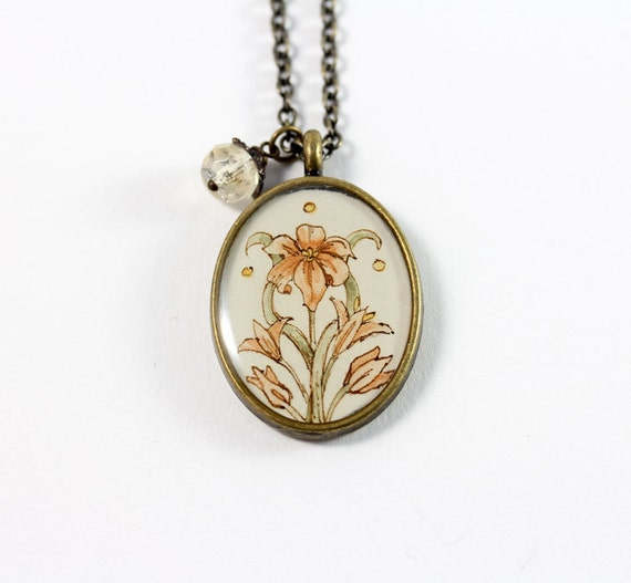 Light Orange Lillies, Art Nouveau Inspired Hand Painted Necklace
