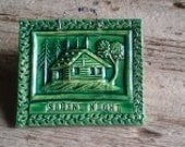 Silent Night Winter Cabin Tile in Holly Green