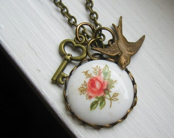 Antiqued Brass Charm Necklace with Key, Bird, and Pink Rose 18 inch -- Gift for Her Under 20 Romantic Nature Shabby Chic