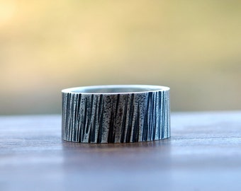 Tree Bark Ring - Bark Ring - Wide Band Ring - Wedding Band - Rustic Wedding Band - Woodgrain Ring - Wedding Ring for Him - Unisex Ring R4049