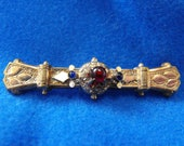 Antique Brooch, Victorian, Gold Plated, Blue & Red Glass Cabochons, ca 1890-1900 NT-1175