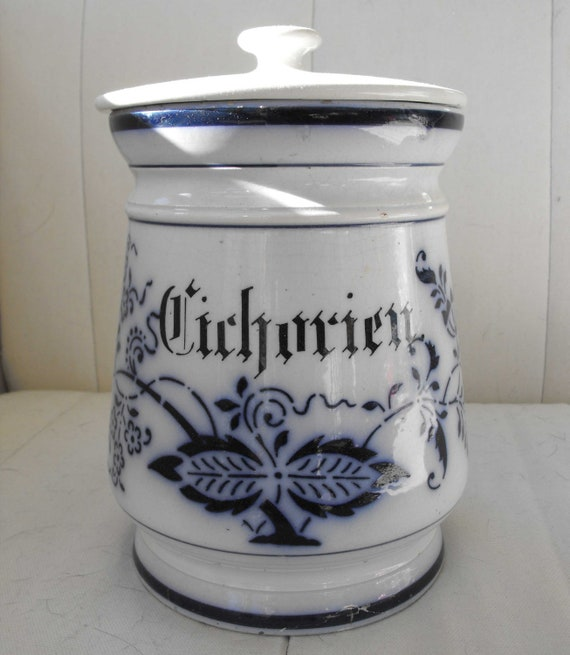 Antique Crock Or Cookie Jar Ceramic Lid Blue White By
