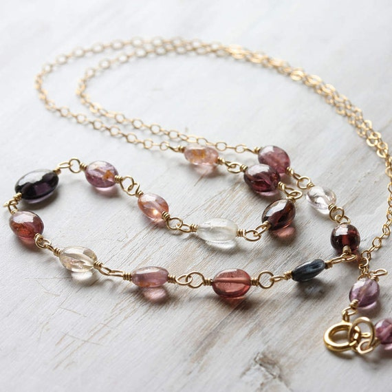 Mulberry - multicolored spinel necklace  in 14k gold fill