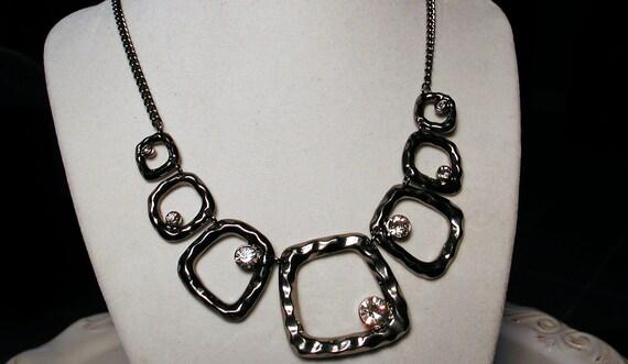 Gunmetal Geometric Crystal Graduated Necklace -UNIFY