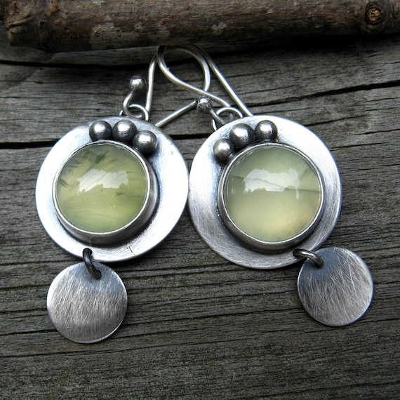 20% Off All Items Today - Code Love20 - Prehnite Earrings ... oxidized sterling silver disc dangles