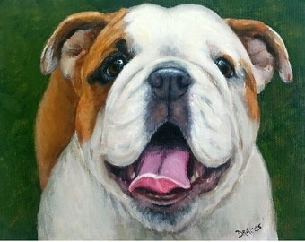 "English Bulldog Dog Art Print Original Painting by Dottie Dracos ""Looking Up, on Green"""