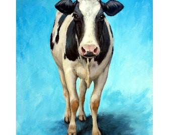 Holstein Cow Art, Farm Animal Print, Standing on Blue, Original Painting by Dottie Dracos