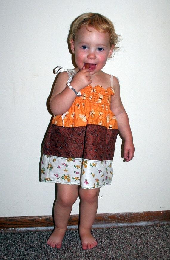 shirred handmade dress, girls age 6-12 months, patchwork