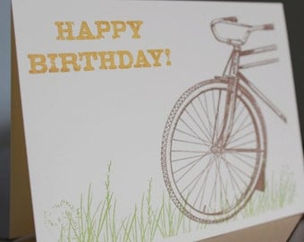 Bike In Grass Birthday - Screen-Printed Gocco Birthday Card