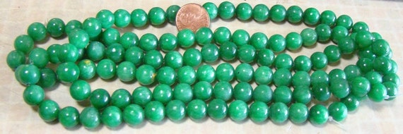 Green Agate 8mm  Round  Beads LAST STRAND