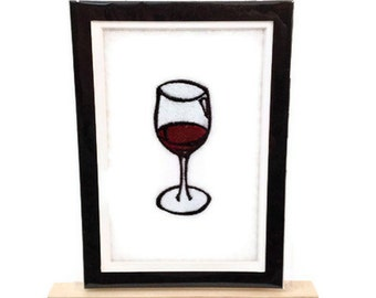 "Embroidery WINE Image Matted 5"" x 7"" Embroidered Design Wine Glass - Ready to Ship"