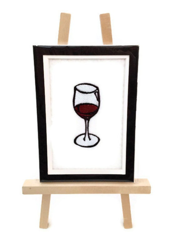 """Embroidery WINE Image Matted 5"""" x 7"""" Embroidered Design Wine Glass Ready for Framing - Ready to Ship"""