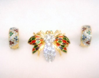 Vintage Butler for Fifth Avenue Collection Rhinestone And Enamel Bee Pin and Earring Set