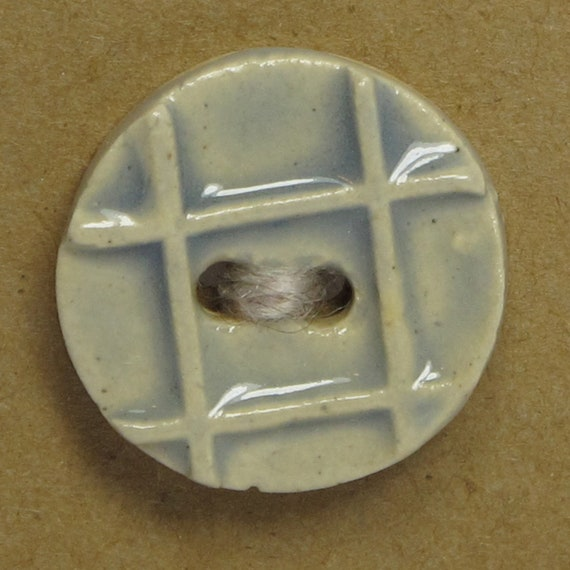 SALE Raised Plaid Ceramic Stoneware Button -  Pale Blue - FREE SHIPPING
