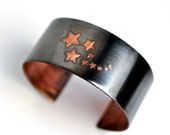 Handmade Copper Cuff Bracelet Stars Etched in Copper