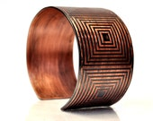Copper Etched Cuff Bracelet Graphic Squares