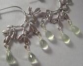 Prehnite Earrings, Faceted Prehnite Gemstone Briolettes Silver-Plated Brass Earrings