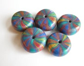 Reserved Rainbow Bright Wheels Handmade Polymer Clay  Beads Jewelry Supplies