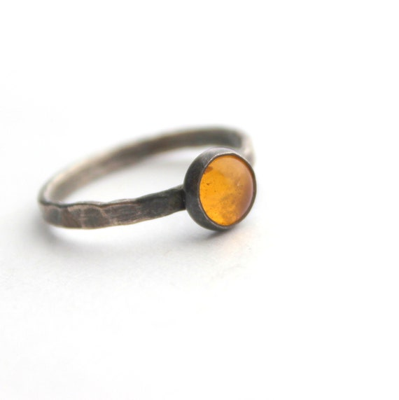 Honey gold amber sterling silver ring size 5 and a half