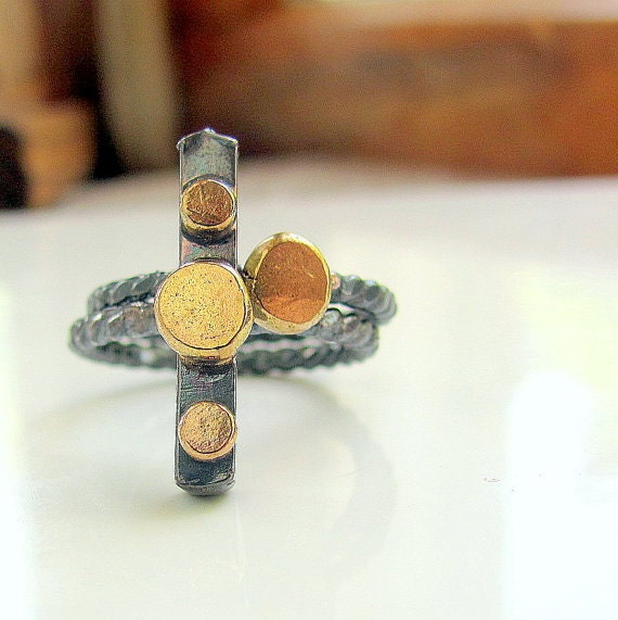 Sterling silver recycled 14K yellow and rose gold mixed metal stacking rings size 6 and a half