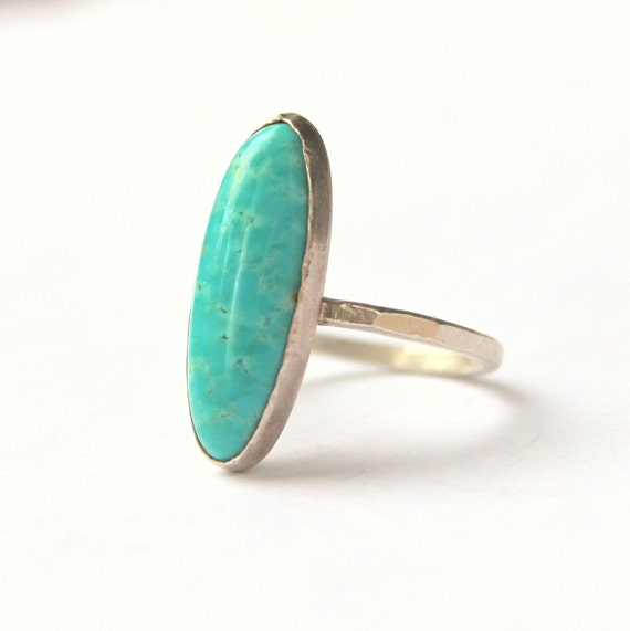 Long oval turquoise sterling silver ring size 8