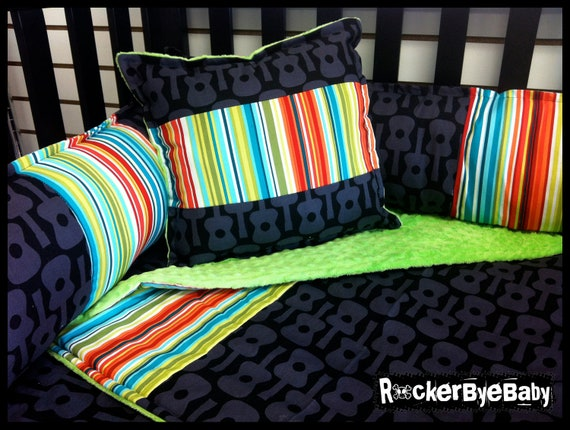 Punk rock crib sets baby 39 s too cool for the crib funk for Rock n roll baby crib set