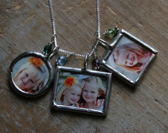 Triple Soldered Glass Photo Charm Necklace, Mommy Photo Necklace, Personalized Photo Necklace, Grandma Necklace, Custom Photo Necklace