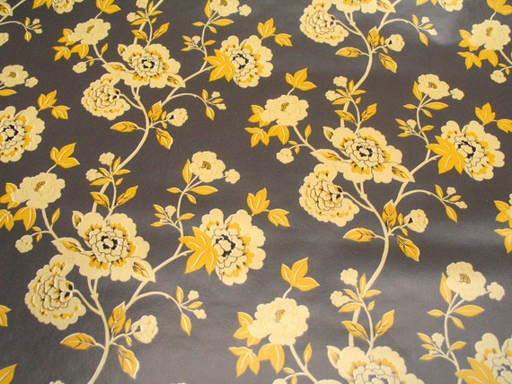 Brown Yellow & Black Vintage Victorian Floral Contact Paper-Remnant Pieces