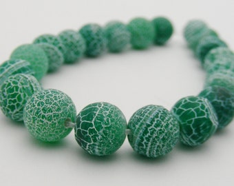 Dream Fire Dragon Veins Frosted Agate (Green) 8mm Round-R