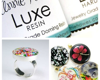 LUXE Doming Resin. Jewelry Grade. Non-toxic Clear Epoxy Resin Resin Kit with Measuring Cups, Stir Sticks, and Applicator Tips. 16 oz Pack.