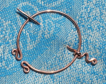 Swirly Sweater Clip Penannular Brooch, Fibula, Scarf Pin, Shawl Pin, Kilt Pin, Clasp