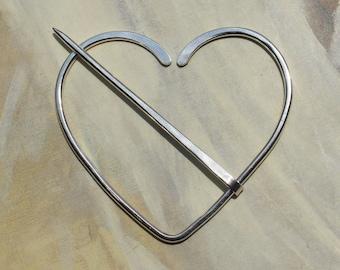 Heart Brooch in Sterling Silver, Penannular, Fibula, Scarf Pin, Shawl Pin, Kilt Pin, Clasp