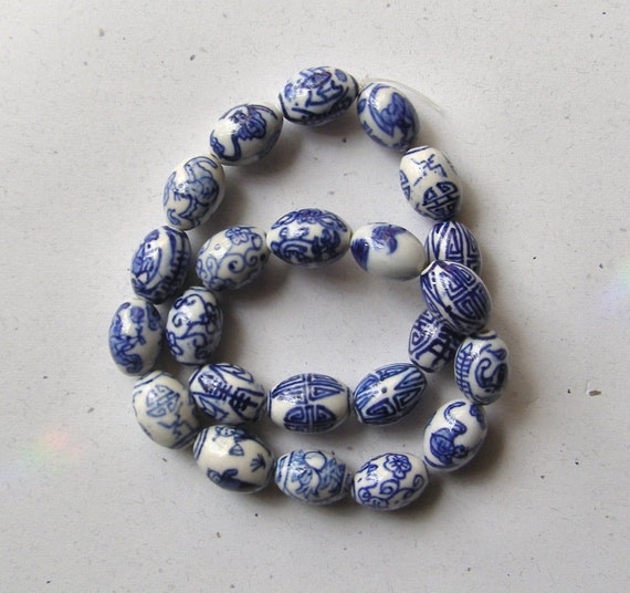 White with Blue Porcelain 19x14 Oval Beads