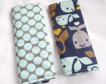 Reversible Car Seat Strap Covers - Whale Tale and Full Moon Dot in Slate