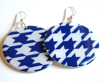 Houndstooth Royal Blue and White Patterned Large Resin Earrings with Sterling Ear Wires
