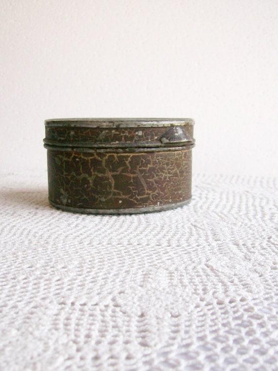 Antique Primitive Round Tin Box Hinged Original Paint Handmade 1880s