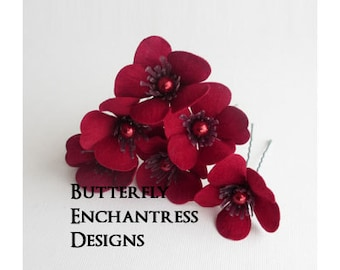 Red Hair Flowers, Wedding Hair Accessories, Bridal Hair Pins - Dark Red Velvet Sakura Flowers