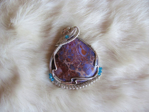 Vibrant Variscite Cabochon and Electric Blue Apatite Rondelles Wrapped In Sterling Silver