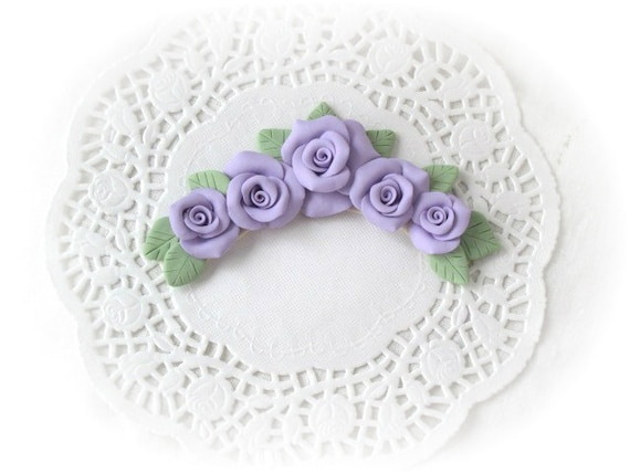 APPLIQUÉ Handmade Polymer Clay Lavender/Purple Roses Clusters for Craft On lay ECS sct schteam SVFTeam