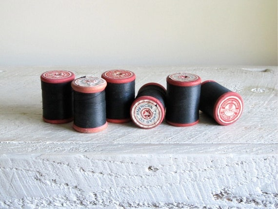 Vintage American Thread Co Red Wood Spools With Black Thread