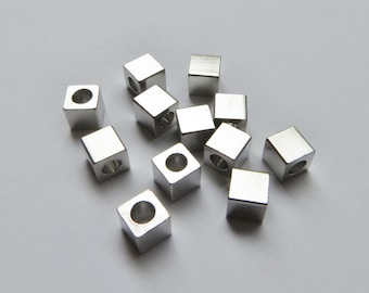5mm Silver Metal Cube Beads - Large Hole - 12 pieces