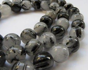 8mm Round Tourmalated Quartz Beads