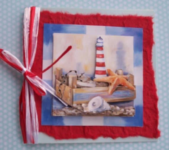 Birthday Greetings Card - Lighthouse Beachcombing Red Version