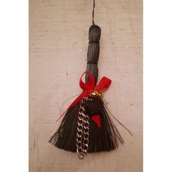 Krampus christmas decoration yule broom switch with coal tree ornament