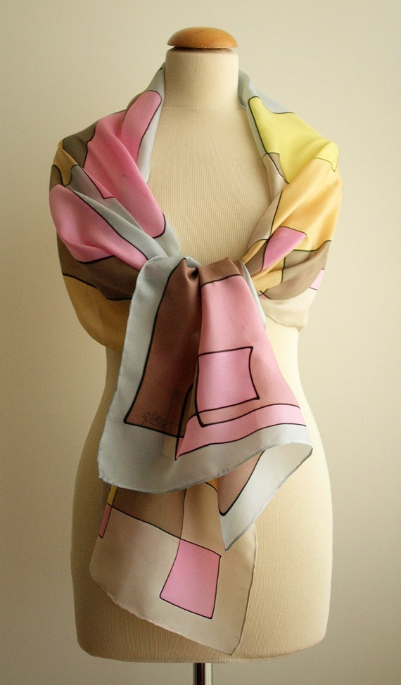 Silk scarf - Hand painted Pink-Yellow-Brown-Tan