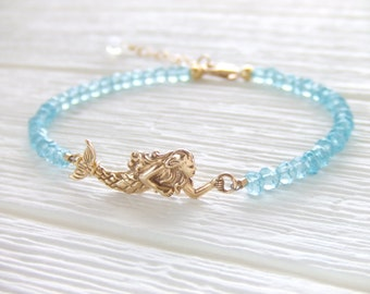 Calypso Mermaid Jewelry Bracelet - Aqua Cubic Rondelles - Gold Filled Bracelet - Gift for Her - Christmas Gift